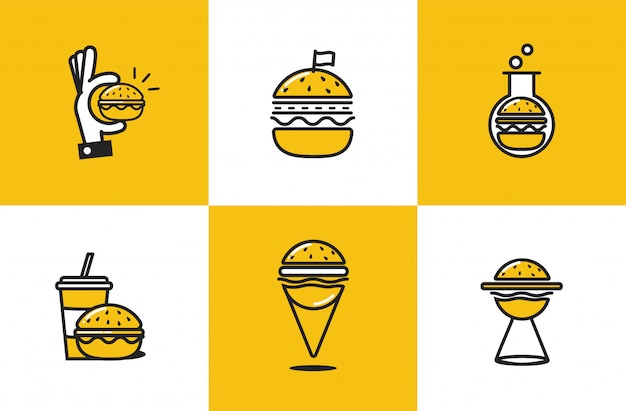 Burger line art icon set Free Vector
