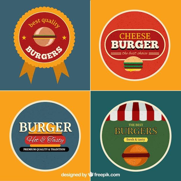 Коллекция логотипов burger Бесплатные векторы
