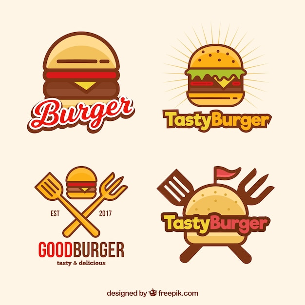 Burger logotypes in linear style Free Vector