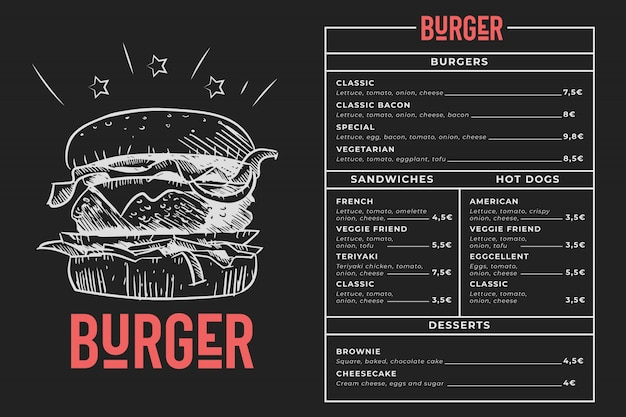 Burger menu blackboard Free Vector