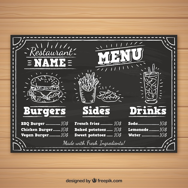 Burger menu template in chalk style Free Vector