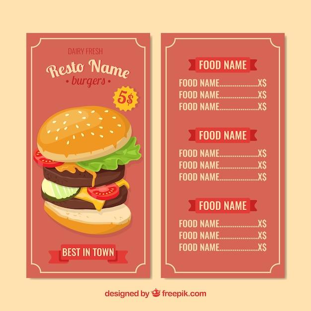 Burger Menu Template In Flat Design Vector