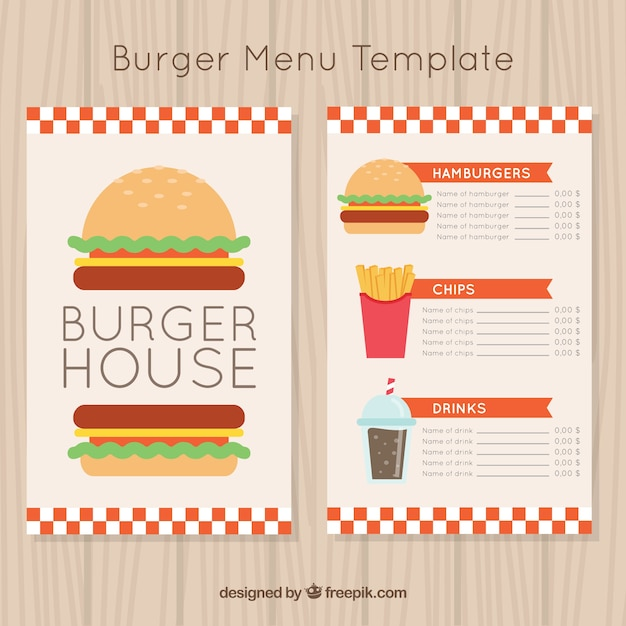 Burger menu template with drinks and\ fries