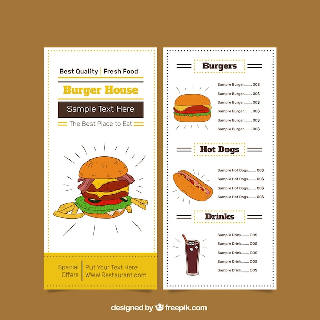 Burger Menu Template Vector | Free Download