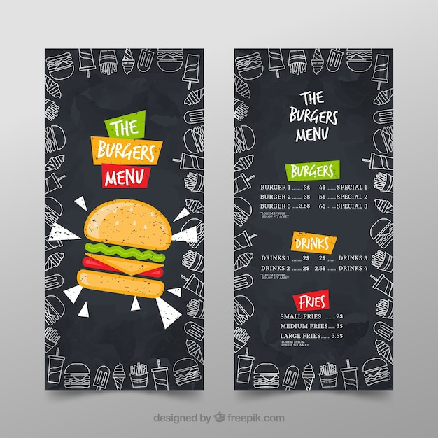 Burger Menu Template Vector Free Download - Small menu template