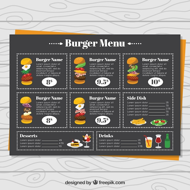 Burger menu with black design Free Vector