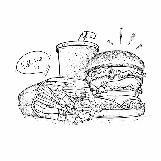 ハンバーガーパックベクトル、手描きスタイルのファーストフードのイラスト Premiumベクター
