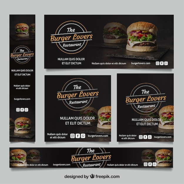 Burger restaurant banner collection with photos Free Vector