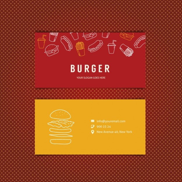 burger restaurant business card vector free download