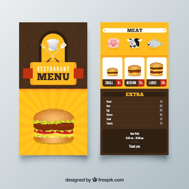 burger restaurant menu template with flat design vector free download