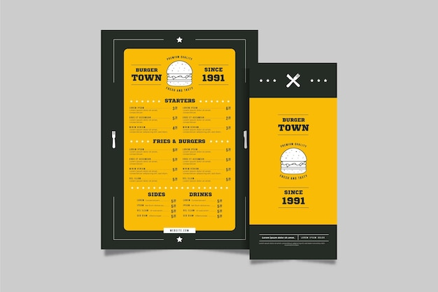 Burger restaurant vertical menu template Free Vector