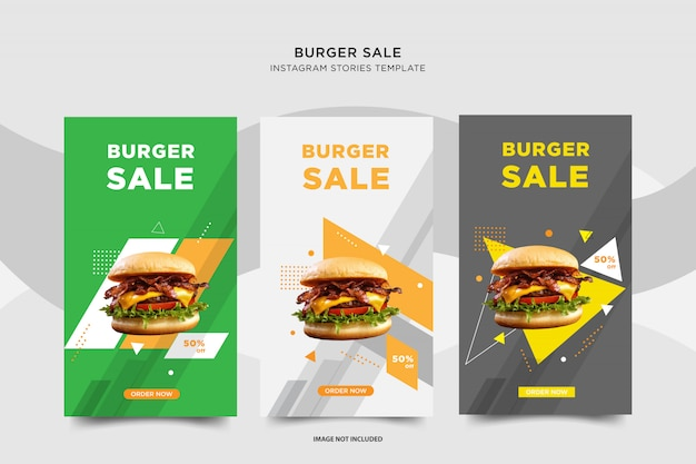 Burger sale instagram социальный пост дизайн Premium векторы