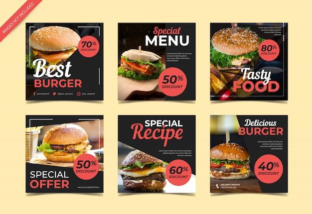 Шаблон поста в социальных сетях burger Premium векторы