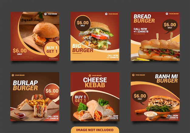 Burger social media post template, square banner or flyer Premium Vector