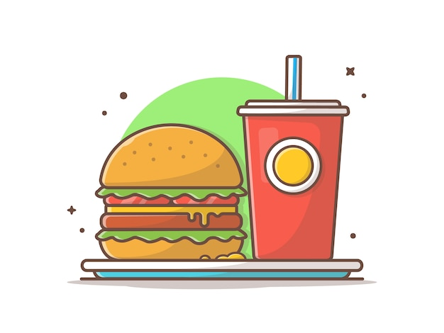 Burger and soda on plate vector illustration Premium Vector