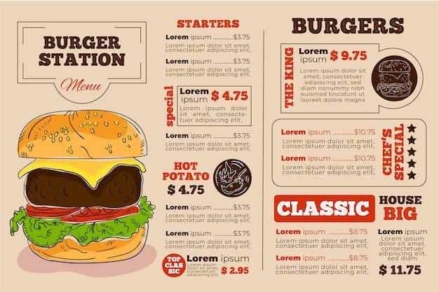 Burger station digital horizontal restaurant menu template Free Vector
