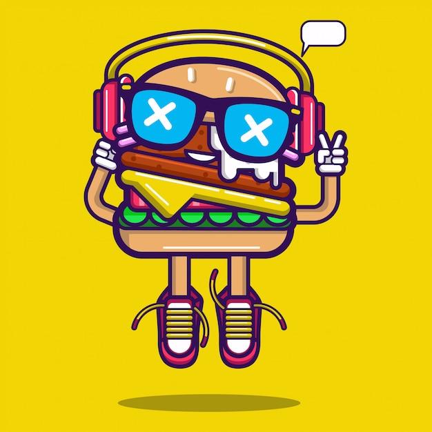 Burger sticker Premium Vector