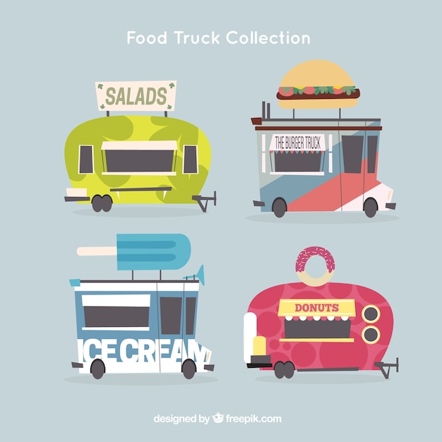 Burger truck and others flat trucks