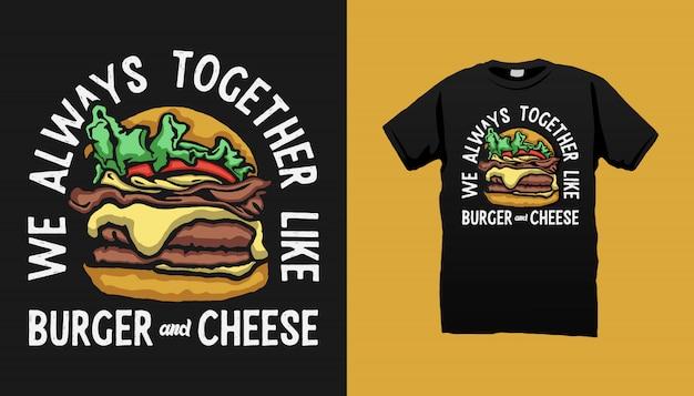 Burger tshirt design с цитатами Premium векторы