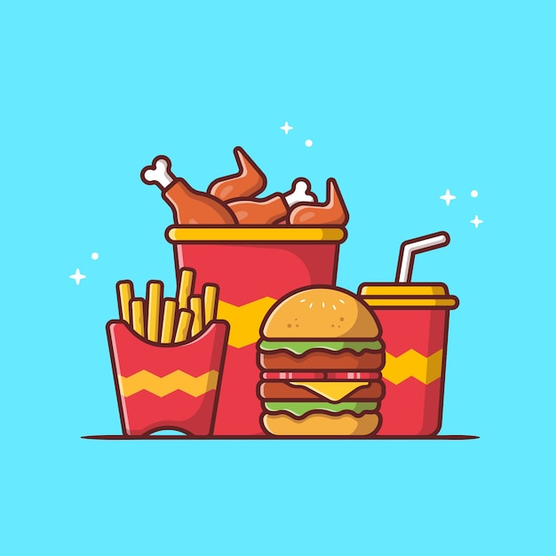 Burger with fried chicken, french fries and soda cartoon vector icon illustration. fast food icon Free Vector
