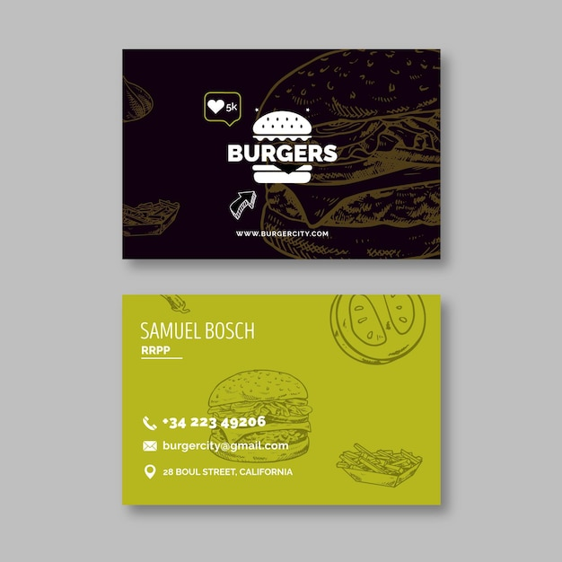 Burgers restaurant double sided business card Premium Vector