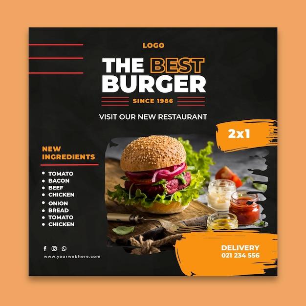 Burgers restaurant flyer template Free Vector