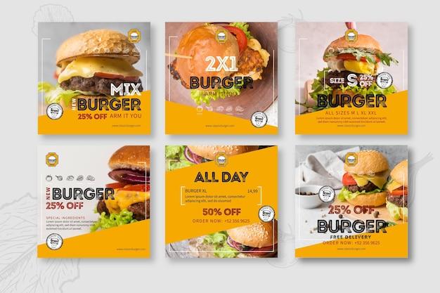 Post instagram ristorante hamburger Vettore gratuito