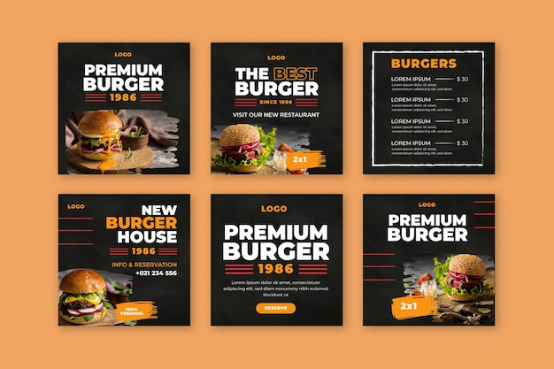 Burgers restaurant instagram posts Free Vector