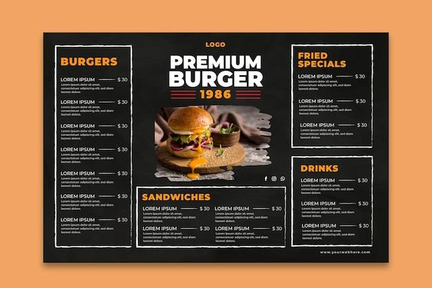 Burgers restaurant menu template Free Vector