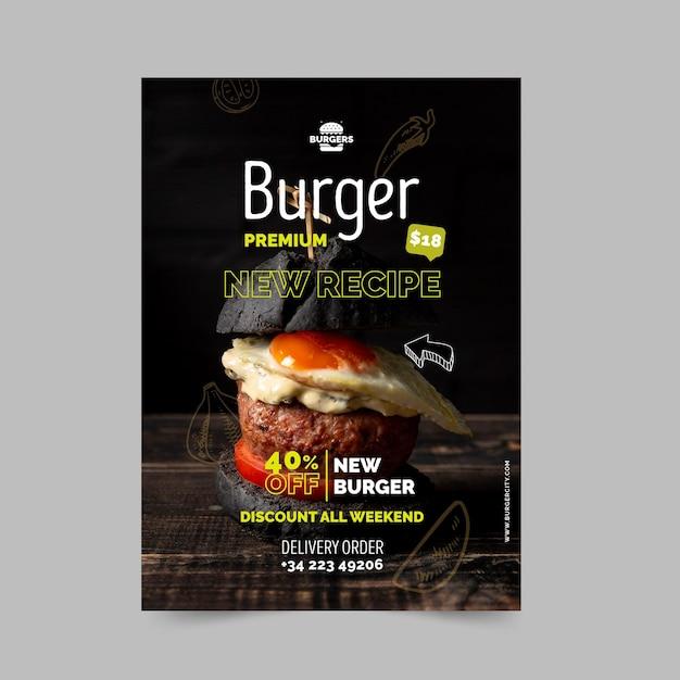 Modello di poster ristorante hamburger Vettore gratuito