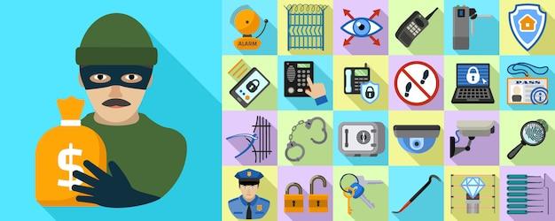 Burglar icons set. flat set of burglar vector Premium Vector