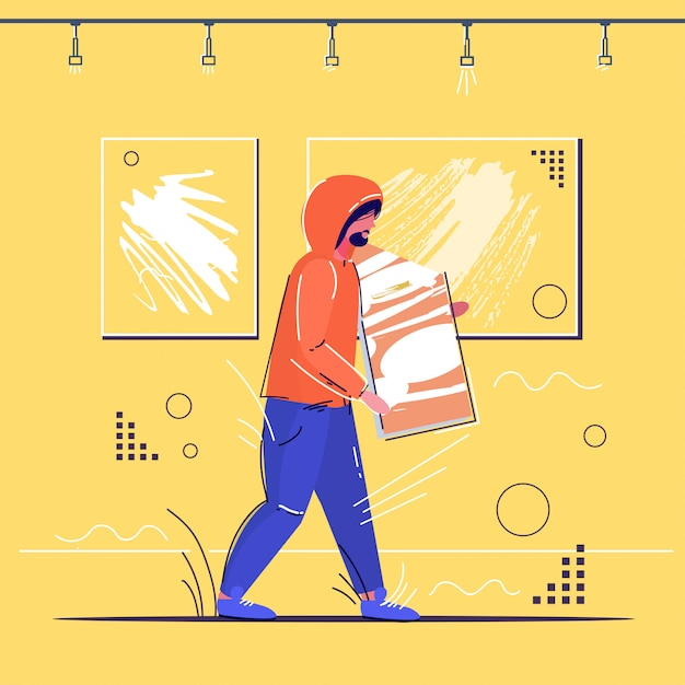 Burglar stealing museum exhibits crime scene stealing theft concept robber holding picture modern art gallery interior sketch full length Premium Vector
