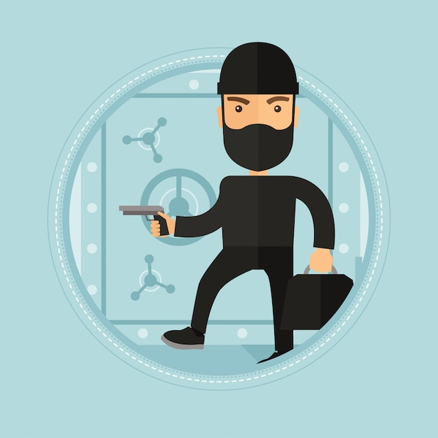 Burglar with gun near safe Premium Vector