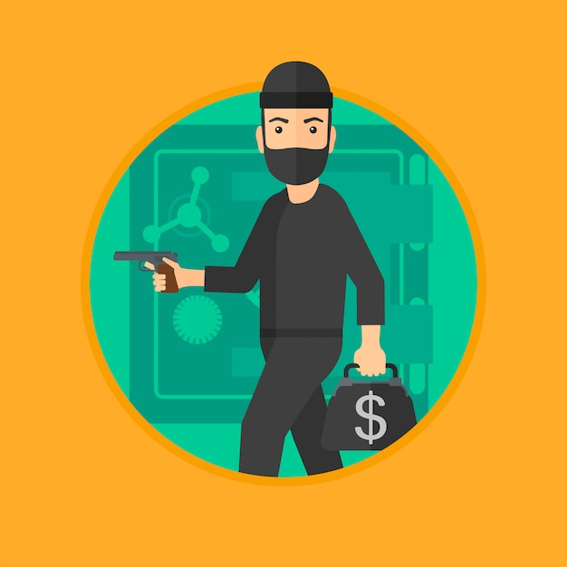 Burglar with gun near safe. Premium Vector