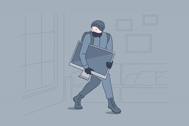 Burglary, crime, robbery, theft concept Premium Vector