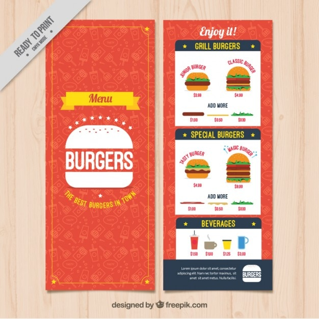 burguer bar menu template vector free download