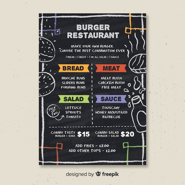 Burguer menu template Free Vector