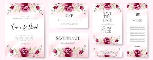 Burgundy blush floral botanical wedding invitation card Premium Vector