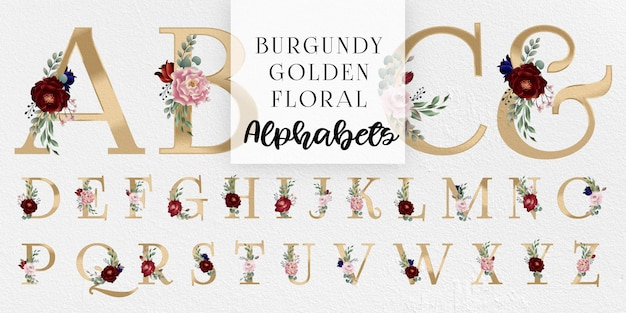Burgundy and blush golden floral alphabets Premium Vector
