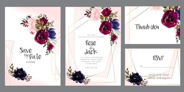 Burgundy and blush watercolor floral wedding invitation card Premium Vector