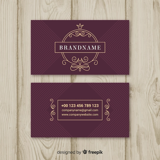 Burgundy elegant business card Free Vector