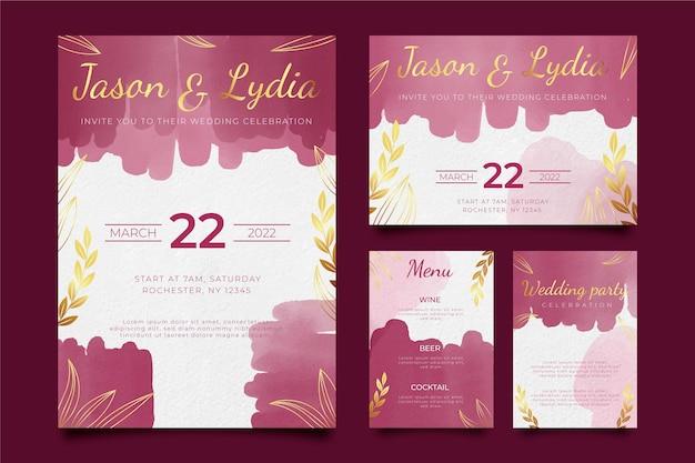 Burgundy and golden wedding stationery Premium Vector