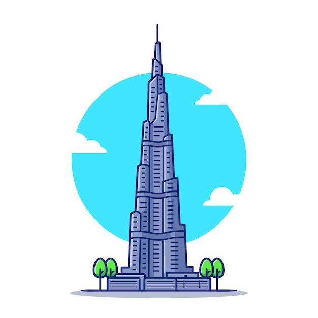 Бурдж-халифа мультфильм значок иллюстрации. известное здание путешествия значок концепции изолированы. плоский мультяшном стиле Premium векторы