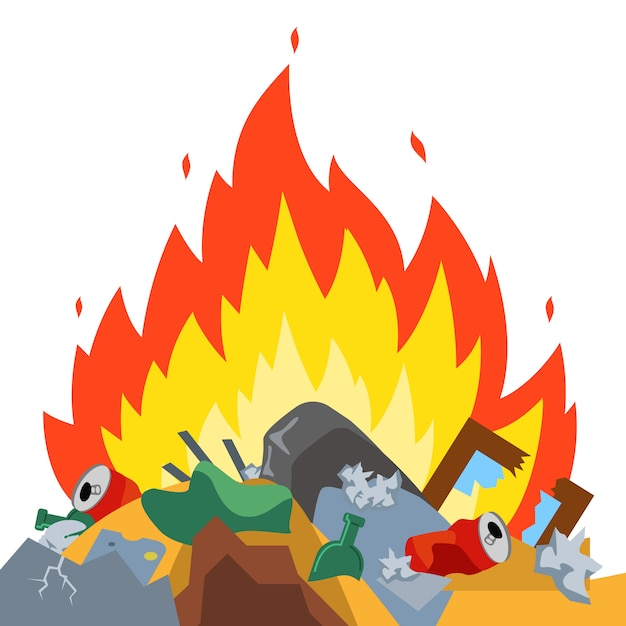 埋め立て地でゴミを燃やす。有害な放出。環境損傷。平面ベクトル Premiumベクター