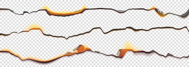 Сжечь границы бумаги, сгоревшая страница с тлеющим огнем на обугленных неровных краях Бесплатные векторы