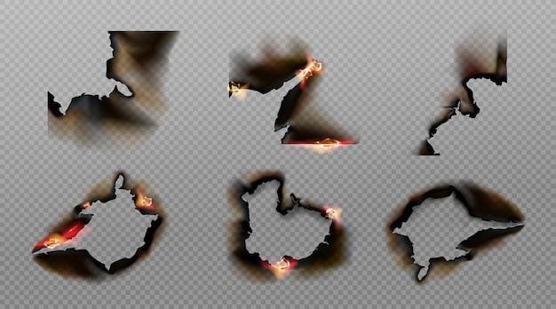 종이 모서리, 구멍 및 테두리를 태우고, 그을린 고르지 않은 가장자리에 그을린 불로 탄 페이지 무료 벡터