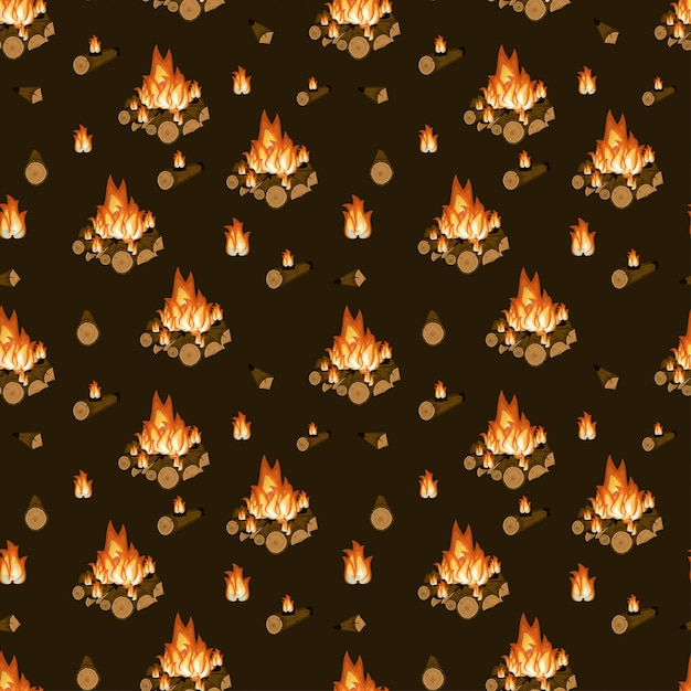 Burning bonfire, firewood and flames Premium Vector