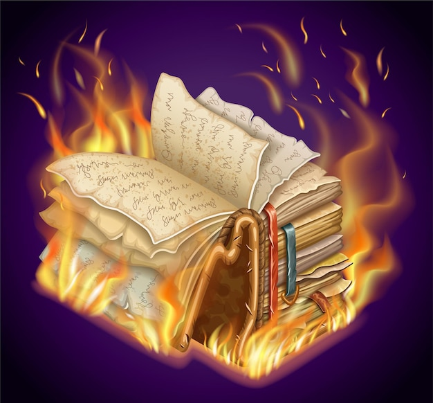 Burning book of magic spells and witchcraft. Free Vector