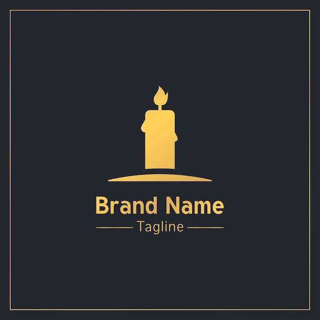 燃えるキャンドルゴールデン深刻なロゴのテンプレート Premiumベクター