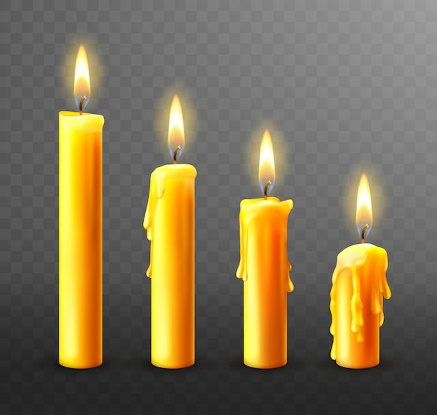 Burning candles, dripping wax Free Vector